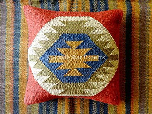 Tradestar - Funda de cojín de yute indio tejida a mano, almohada Kilim, funda de almohada de 18 x 18, boho decoración del hogar, funda de almohada vintage