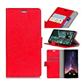 Wendapai Sharp Android One X4 Hülle, Sharp Android One X4 Surface Folio Flip Hülle Handytasche Slim schlank Hülle zum Sharp Android One X4 (Red)