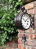 Orologio con campanella da esterno, con staffe e doppio quadrante - 20 cm di diametro by Westminster