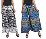 MRV FASHION Women's Cotton Printed Stylish Palazzos (Black and White and Blue)