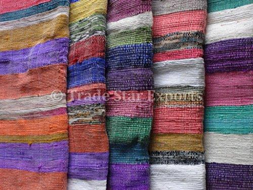 Trade Star handgewebt Große Fläche Teppich, Indian Chindi Dhurrie Teppich 4x 6, Oriental Baumwolle Rag Runner Fußmatte, Multi Farbe Floor (Rag Teppiche 4 X 6)
