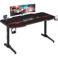 Homall Gaming Tisch 140 cm Gaming Schreibtisch Gamer Computertisch Ergonomischer PC Tisch mit Getränkehalter und…
