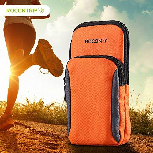 Rocon bracciale corsa, 2 tasche con cerniera braccio sacchetto adatto iphone 6 6s 6 plus, borsa braccio impermeabile per sport, corsa, allenamento e altre attività all'aperto (arancione)