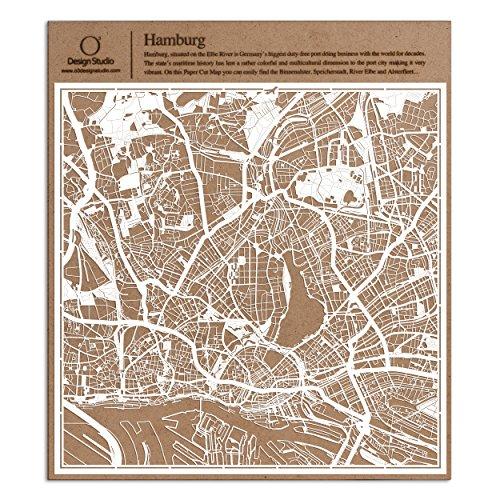 Hamburg Scherenschnitt Karte, Weiß 30x30 cm Papierkunst
