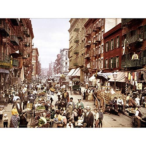 New York City Fine Art (Detroit PC Mulberry Street New York City Coloured 1900 Photo Extra Large XL Wall Art Poster Print Straße Stadt Farbe Fotografieren Wand Poster drucken)