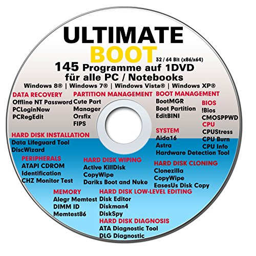 Ultimate Boot CD DVD VERSION (NEU) / Notfall-CD-DVD für Windows 7 , Windows 8, Vista, XP Betriebssysteme System-Diagnose Tools (Betriebssystem Windows Vista)