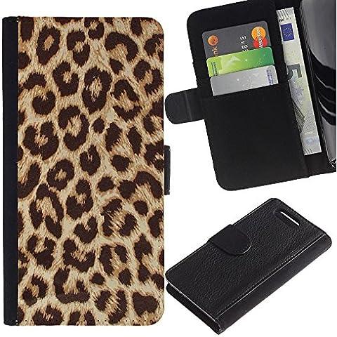 TORNADOCOVER ( No Para Xperia Z1 ) Diseño Trasera Imagen Cuero Voltear Tarjeta Ranura Duro Funda Negro Borde Carcasa Case Cover Skin para Smartphone Sony Xperia Z1 Compact D5503 - Modelo animal de color marrón dorado