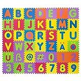 Puzzlematte für Babys & Kinder, 106 Teile, zertifiziert & schadstofffrei, Lernteppich aus Schaumstoff, Spielmatte mit herausnehmbaren Buchstaben & Zahlen, 42 Einzelmatten
