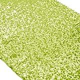 14x 274,3cm -- chemins de table pour mariage et événements Taille sur mesure Zig Zag nappes à sequins et Linens ~ M1014, polyester & polyester mélangé, vert citron, 14x108-Inch