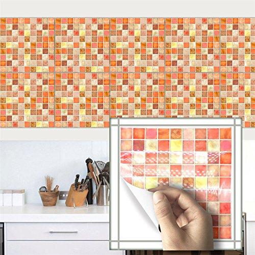 7,87100Mosaik Fliesen Aufkleber, Aufkleber Wasserdicht Küche Badezimmer Decor Abnehmbaren Leicht anzubringen, Braun Orange ()