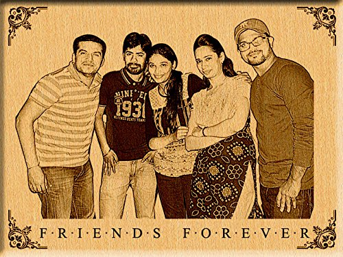 Incredible Gifts India Personalized Gifts Friendship Day - Engraved Photo On Wood (12 X 9)