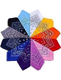 Anpro 12 Pezzi Bandane Multicolori per Cappelli,Bandana per Capelli, Collo,Testa,Sciarpa Fazzoletti da Taschino,Disegno Paisley,Realizzati in 100% Cotone