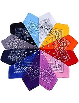 Anpro 12 Pezzi Bandane Multicolori per Cappelli,Bandana per Capelli, Collo,Testa,Sciarpa Fazzoletti da Taschino...
