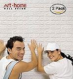 Arthome 3D Carta da Parati Mattoni Bianco,3d Muro Pannelli, 3d Muro Adesivi Pannelli,Carta da Parati per Cucina,Ufficio, Bagno, Soggiorno, Sfondo TV(2 pezzi -11.4 piedi quadrati)
