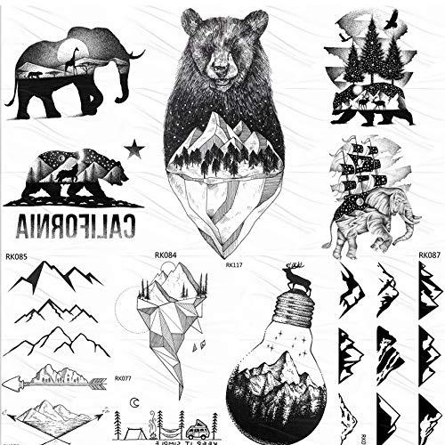 yyyDL Nette Black Mountain Bear Temporäre Tattoos Aufkleber Wald Segelschiff Benutzerdefinierte Tattoo Body Art Arm Fake Tattoo Wasserdicht 10 * 6 cm 7 (Mountain Mann Kostüm Kind)