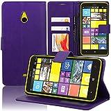 Funda Carcasa cartera Soporte Vídeo Tipo libro solapa Cuero PU Nokia Lumia 1320 - PÚRPURA