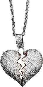 Danigrefinb, Collana con catenina e ciondolo con strass a forma di cuore spezzato, per coppia, unisex, gioiello semplice e alla moda