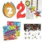 2. Geburtstag 2 Jahre Dekoset Servietten Konfetti Hänger Luftballons große Zahl