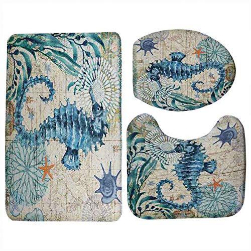 Hiughj tappeto stile marino 3 pezzi set copriwater copri wc set tartaruga marina stampato tappetino da bagno lavabile tappeto per lavabo zerbini 4