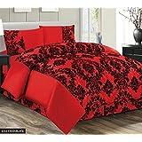 Super lujo Damasco Flock 4piezas completo juego de cama hoja set–2fundas de almohada/hoja de cama/colcha, color rojo y negro, poliéster, rojo, negro, cama de matrimonio grande