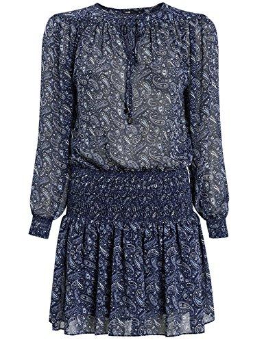 oodji Ultra Femme Robe Mousseline Imprimée Bleu (7910E)