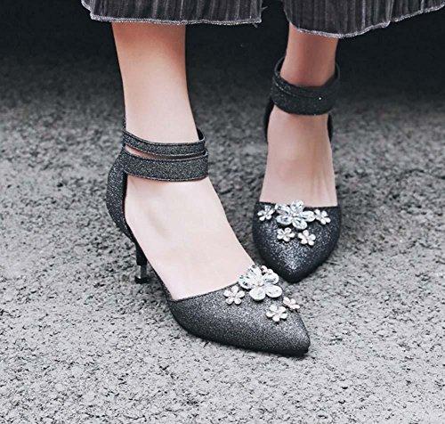 NobS Ladies Diamond Flowers Sandales à talons hauts Pointe Toe Chaussures de grande taille 40-43 Chaussures de cheville Chaussures de travail Chaussures de mariage Black