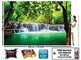 Murale Cascade Feng Shui - Décoration murale vacance paradisiaque dans une Forêt Tailandaise en Asie avec Wellness Spa Relax | murale photo mur deco chez GREAT ART (336 x 238 cm)...