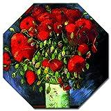 Bilderdepot24 Kunstdruck - Alte Meister - Vincent Van Gogh - Vase mit roten Mohnblumen - Achteck 60x60 cm - Leinwandbilder - Bild auf Leinwand