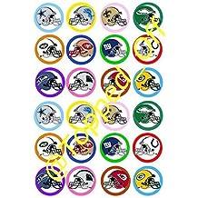 Cascos de fútbol americano (3,81 cm) 24 x cm 3,8 comestibles redondas - adorno para pasteles repostar (incluye accesorios)