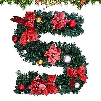 Jo113nnye-18M-Weihnachtskranz-Girlande-mit-Gold-Blume-Bogen-Weihnachtsgirlande-fr-Treppen-Kamine-Knstliche-Christbaumschmuck