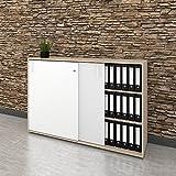 Weber Büro Schiebetürenschrank Sideboard NOVA 3OH 1.640 x 1.085 mm in Ahorn-Weiß