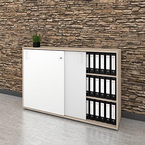 Weber Büro Schiebetürenschrank Sideboard NOVA 3OH 1.640 x 1.085 mm in Ahorn-Weiß -