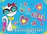 JuNa-Experten 12 Einladungskarten Geburtstag Kinder Katze für Mädchen Einladungen Kindergeburtstag Geburtstagseinladungen Kartenset