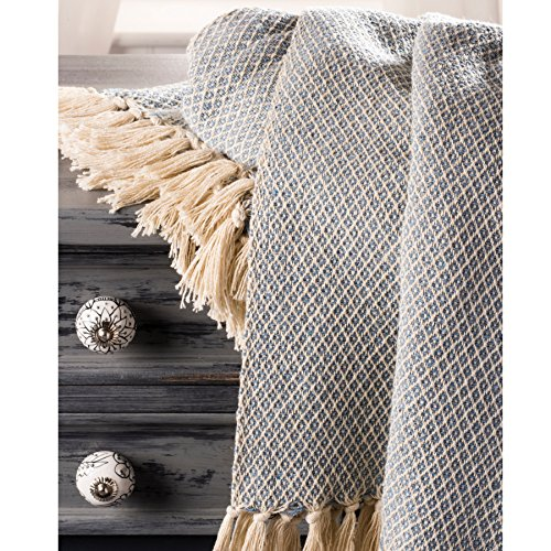 Fair Trade Soft Hand Woven Tagesdecke Sofa Sofa Überwurf blau Diamant Muster, 100% Baumwolle 225x 250cm BS8 (Muster Baumwolle 100%)