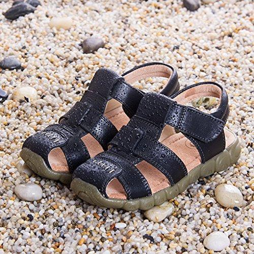 Evedaily Sandale Enfant Bout Fermé Sandales de Marche Randonnée Chaussures Eté Garçon Fille En Cuir Noir