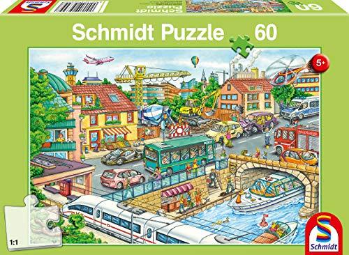 Schmidt Spiele Puzzle 56309 Fahrzeuge und Verkehr, 60 Teile Kinderpuzzle, bunt