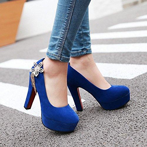 Mee Shoes Damen high heels Geschlossen Suede Pumps Blau