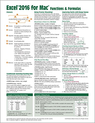 Excel 2016 for Mac Functions & Formulas Quick Reference Guide (4-page Cheat Sheet focusing on examples and context for intermediate-to-advanced functions and formulas - Laminated Guide) (Cheat-sheet Für Excel)