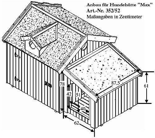 Hundehütte MAX inkl. Anbau Isoliert Wetterfest Hundehaus Hütte Hund - 2