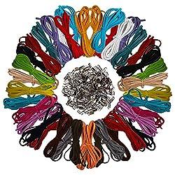Curtzy 40 Stück 1m x 3mm Faux Wildleder Schnur String mit 200 Stück Schnurenden - Leder Schnur Faden fur Armband, Halskette, Schlüsselanhänger, Schmuck, DIY Handwerk - Wildlederband - Leder Schnur