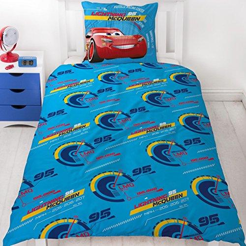 Disney Pixar CARS 3 RACE READY Auto Motiv Kinder FLANELL / BIBER Bettwäsche Wende Motiv – 2 tlg. Kissenbezug 80×80 + Bettbezug 135×200 cm – 100 % Baumwolle - 2