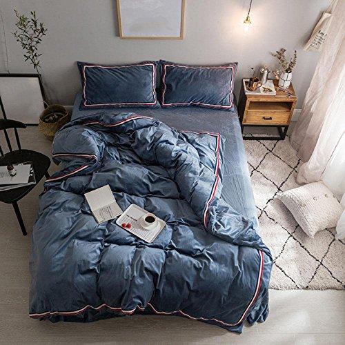 Perkal-doppel-duvet-set (einfarbig Polyester bettwäsche einfache schlafzimmer Set Duvet Set königin könig nicht verblassen bettwäsche 4 stücke , navy blue , 150x200cm)