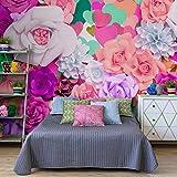 decomonkey| Fototapete Blumen Herz 3d 350x256 cm XXL | Design Tapete | Fototapeten | Tapeten | Wandtapete | moderne Wanddeko | Wand Dekoration Schlafzimmer Wohnzimmer | bunt rosa violett | FOB0058b73XL