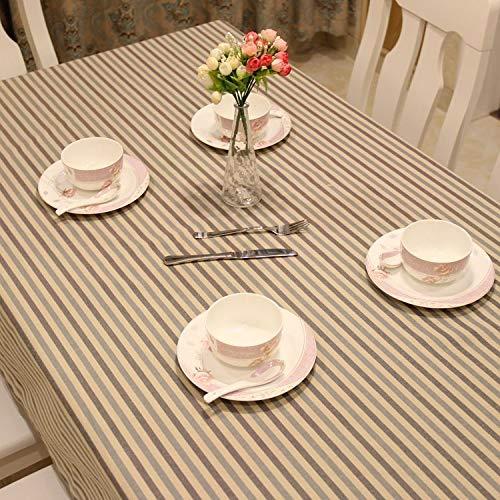 Gestreifte Baumwolle-mischung (SnowFig Tischdecke Polyester-Baumwolle Mischung Gestreifte Rechteckige Tischdecke Kaffee Tischdecke Picknick-Tuch, 130 * 130Cm)