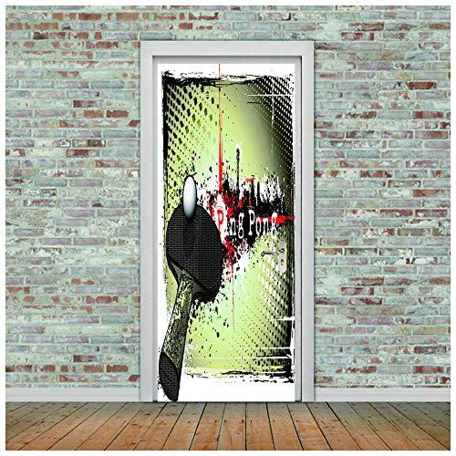 Aufkleber Der Tür 3D Tischtennisschläger Abnehmbare Selbstklebende Vinyl Kunst Wandtattoo Für Kinderzimmer Schlafzimmer Wohnzimmer Dekoration