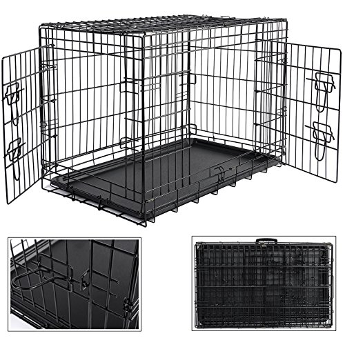 Hundebox Faltbar Hundetransportbox Transportbox Reisebox Tier Katzenbox Metall,107x71x76cm, XL, HT2030m3
