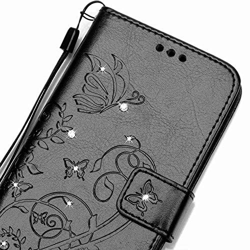 SainCat Apple iPhone 5c Custodia in Pelle,Anti-Scratch Protettiva Corpertura Caso Custodia Per iPhone 5c,Elegante Creativa Dipinto Pattern Design PU Leather Flip Ultra Slim Sottile Morbida Portafoglio Farfalla diamond,Nero