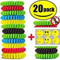 STURME 20 Pack Natural Mosquito Repellent Bracelets Waterproof Wristband wrist band Bug Insect Protection up to 300 Hours, No Deet, Pest Control for Kids Adults for Outdorr Camping Fishing Travling