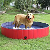 FEMOR Foldable Pet Dogs Cats Paddling Pool Puppy Swimming Bathing Tub (L/160 × 30cm / 63″D x 12″H )