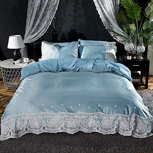 CPDZ 4 stücke Blatt Set 100% Baumwolle Blatt Quilt Abdeckung, Luxus bettwäsche bettbezug königin seidenbettbezug & kissenbezüge Set,Blue,XL (Bettwäsche-daunendecke-abdeckung)